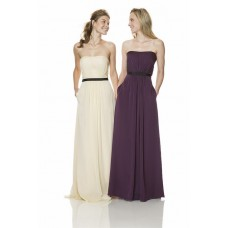 Simple A Line Strapless Long Purple Chiffon Black Belt Bridesmaid Dress With Pocket