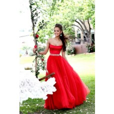 Simple A Line Strapless Long Red Satin Tulle Beading Prom Dress With Shawl