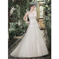 Simple A Line Strapless Sweetheart Ivory Tulle Lace Wedding Dress