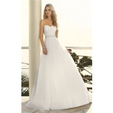 Simple A Line Strapless Sweetheart Organza Crystal Beaded Belt Wedding Dress