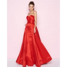 Simple A Line Strapless Sweetheart Red Taffeta Prom Dress With Overskirt