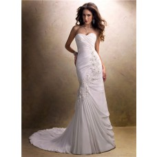 Simple A Line Sweetheart Asymmetrical Ruched Chiffon Wedding Dress With Lace