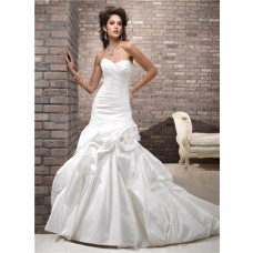 Simple A Line Sweetheart Corset Back Taffeta Wedding Dress With Flowers
