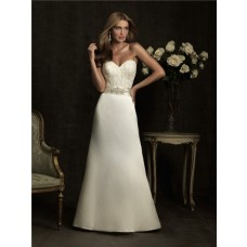 Simple A Line Sweetheart Lace Satin Wedding Dress With Crystal Belt