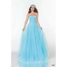 Simple A Line Sweetheart Long Turquoise Tulle Prom Dress With Beading Jacket