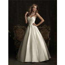 Simple A Line Sweetheart Satin Ruched Wedding Dress With Bow Buttons