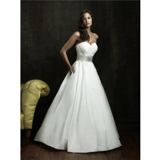 Simple A Line Sweetheart Taffeta Wedding Dress With Sparkle Belt Pocket