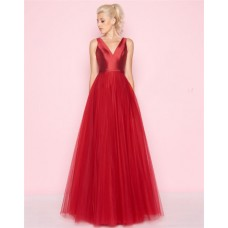 Simple A Line V Neck Long Red Satin Tulle Prom Dress With Sash