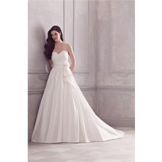 Simple Ball Gown Sweetheart Taffeta Ruched Wedding Dress With Flower