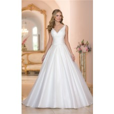 Simple Ball Gown V Neck Low Back Ruched Taffeta Wedding Dress With Buttons