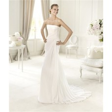 Simple Causual Sheath Strapless Corset Back Ruched Chiffon Wedding Dress