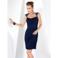 Simple Elegant Short Navy Blue Ruched Jersey Evening Dress With Beading Straps