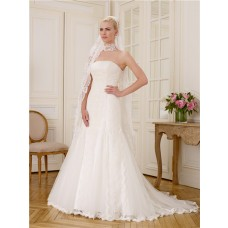 Simple Fitted Mermaid Strapless Tulle Vintage Lace Wedding Dress