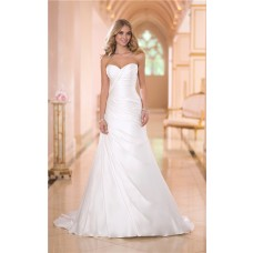 Simple Fitted Mermaid Sweetheart Ruched Satin Corset Wedding Dress