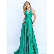 Simple Halter High Slit Long Emerald Green Satin Evening Prom Dress