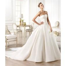 Simple Modern A Line Strapless Slim Waist Satin Wedding Dress With Buttons