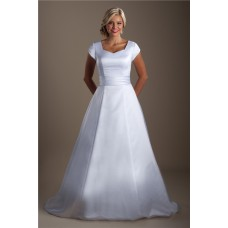 Simple Modest A Line Cap Sleeve Satin Corset Wedding Dress Court Train