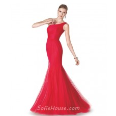 Simple One Shoulder Red Tulle Long Evening Prom Dress
