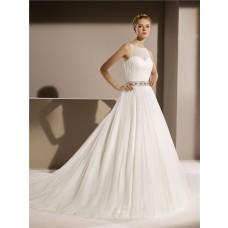 Simple Princess A Line Scoop Neck Keyhole Back Tulle Wedding Dress Beaded Crystal Belt