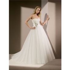 Simple Princess Ball Gown Strapless Tulle Beaded Wedding Dress Chapel Train