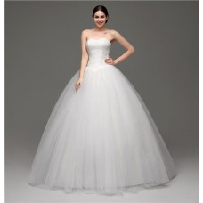 Simple Puffy Ball Gown Strapless Tulle Lace Corset Wedding Dress