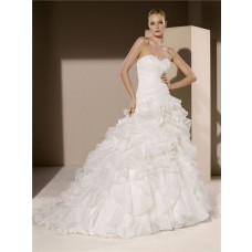 Simple Romantic Ball Gown Strapless Sweetheart Organza Ruffle Corset Wedding Dress