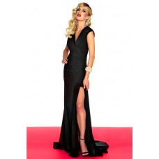 Simple Sexy Sheath V Neck Backless Long Black Chiffon Evening Prom Dress Open Back