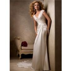 Simple Sheath Scalloped V Neck Cap Sleeve Lace Chiffon Beach Garden Wedding Dress