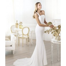Simple Slim Mermaid One Shoulder Ruched Chiffon Destination Wedding Dress