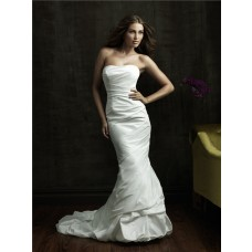 Simple Slim Mermaid Strapless Taffeta Wedding Dress With Ruching