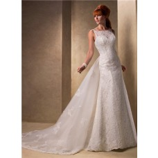 Slim A Line Bateau Neckline Vintage Lace Wedding Dress With Detachable Train