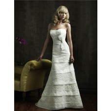 Slim A Line Strapless Scoop Layered Organza Lace Wedding Dress With Bow