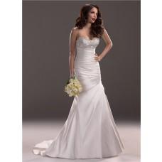 Slim A Line Strapless Scoop Neckline Satin Wedding Dress With Beading Ruching