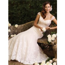 Slim A Line Sweetheart Corset Back Chapel Train Lace Wedding Dress With Straps