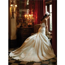 Slim A Line Sweetheart Ivory Satin Ruched Wedding Dress With Swarovski Crystal