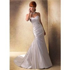 Slim A Line Sweetheart Ruched Satin Beaded Wedding Dress With Buttons