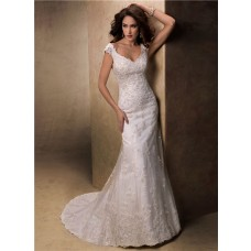 Slim A Line V Neck Cap Sleeve Low Back Lace Beaded Wedding Dress