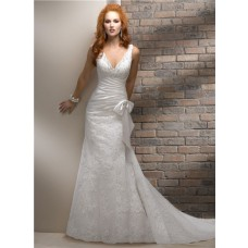 Slim A Line V Neck Lace Beaded Wedding Dress With Bow Corset Back