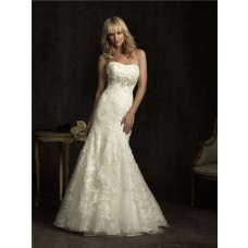 Slim Fitted Mermaid Strapless Empire Waist Ivory Lace Wedding Dress