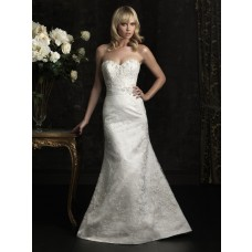 Slim Fitted Mermaid Strapless Lace Beaded Wedding Dress With Buttons
