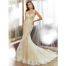 Slim Fitted Mermaid Sweetheart Keyhole Backless Light Gold Satin Lace Beaded Wedding Dress