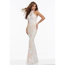 Slim Halter Open Back White Lace Beaded Prom Dress