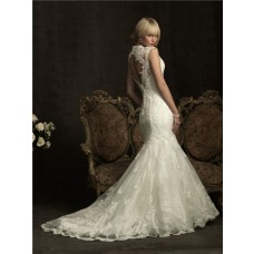 Slim Mermaid Cap Sleeve V Neck Lace Wedding Dress Keyhole Open Back