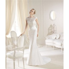 Slim Mermaid High Neck Cap Sleeve Lace Chiffon Wedding Dress Low Back