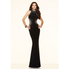 Slim Mermaid High Neck Open Back Long Black Beaded Evening Prom Dress