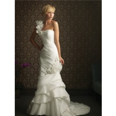Slim Mermaid One Shoulder Taffeta Wedding Dress With Ruching Flowers
