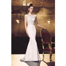 Slim Mermaid Scalloped Neck Cap Sleeve Satin Lace Wedding Dress With Sash