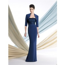 Slim Mermaid Strapless Royal Blue Chiffon Mother Of The Bride Evening Dress With Jacket