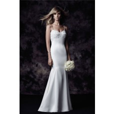 Slim Mermaid Sweetheart Backless Venice Lace Satin Wedding Dress Spaghetti Straps