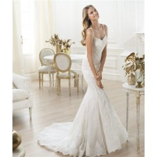 Slim Mermaid Sweetheart Beaded Lace Wedding Dress With Straps